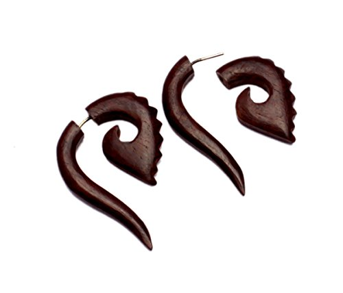 [A Pair of Tribal Organic Wooden Earrings Boho Hippie Wood Faux Plugs Tapers SEW_129] (Fancy Dress Krishna Costume)