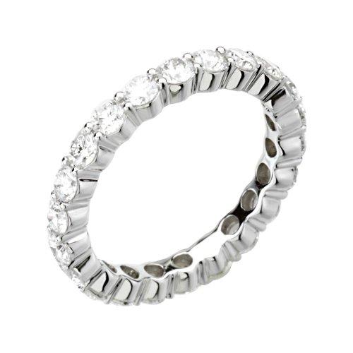14k White Gold 2 CTW Diamond Eternity Band Size 5, 14kt White gold, Ring Size 5 (Tw 2ct Diamond Band Eternity)