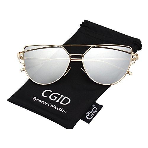 UV400 A MJ74 Polarisées Cateye de Réfléchissantes Modernes Argenté Soleil CGID Femmes Fashion et Or Lunettes Pour vdqwOva
