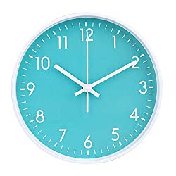 jomparis Non Ticking & Silent Battery Operated Round Wall Clocks Quartz Decorative Wall Clocks for Bedroom/Living Room/Kids (10 Inch,Blue)