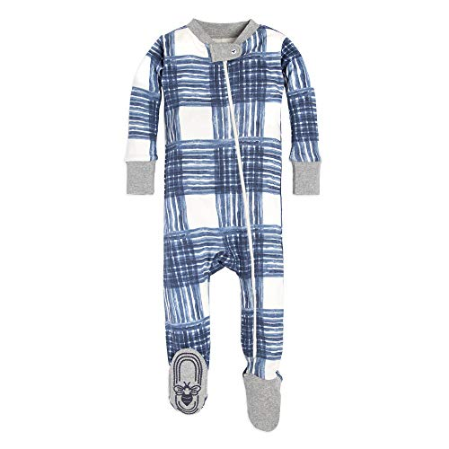 Burt's Bees Baby Baby Boys Pajamas, Zip Front Non-Slip Footed Sleeper PJs, 100% Organic Cotton, Midnight Buffalo Check, 18 Months