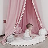 LOAOL Kids Bed Canopy with Pom Pom Hanging Mosquito