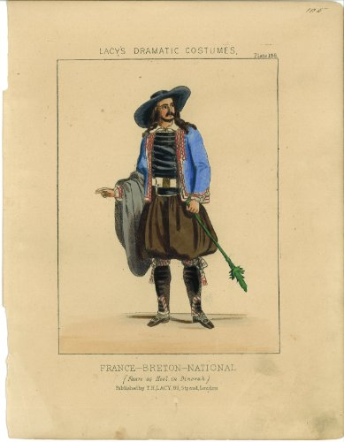 Costume Design National Theatre (SALE! Hand Watercolored Lacy's Costume Print, 1865-Breton National Man (Lacy's Dramatic Costumes, 1865))