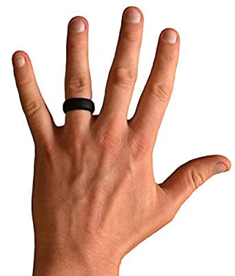 Aquilo Men's Silicone Wedding Ring ★ Fear no injury★ Fear no Pain ★ lose the stress ★ Great for Arthritis and Hand Swelling ★ Great For Crossfit - Policemen - Hunting -Archery - Military - Camping ★ Made of Medical Grade Hypoallergenic Ballist