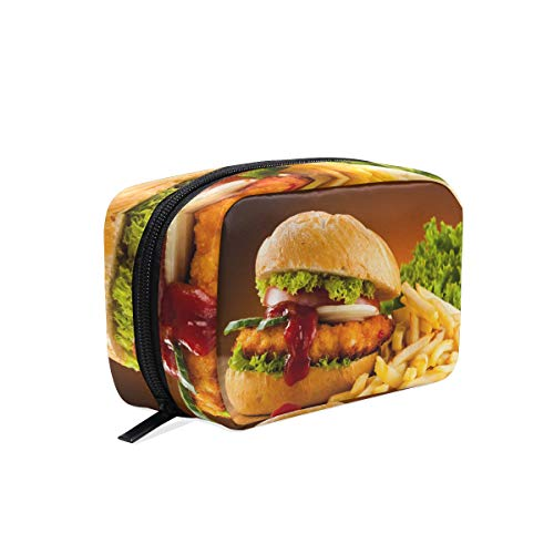 Cosmetic Makeup Bag Pouch Dish Food Recipe Fast Hamburger Sandwich Clutch -