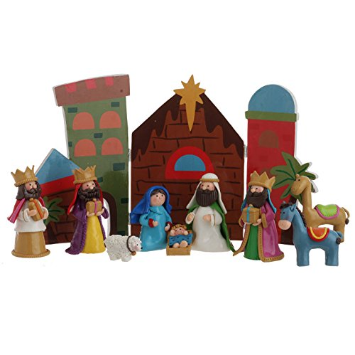 10-piece Set, Claydough Christmas Nativity Set with Crech...