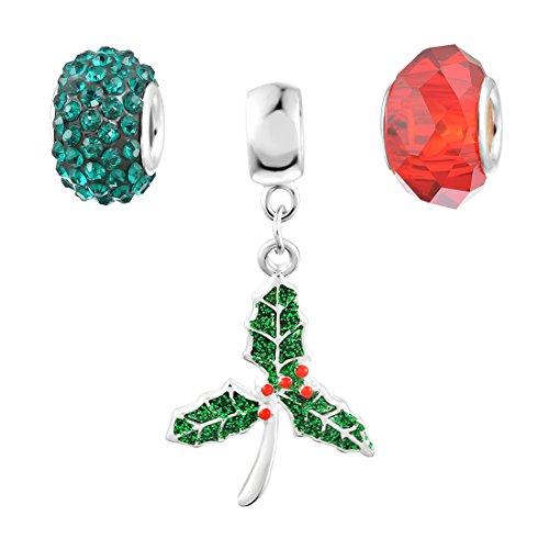 Souarts Mixed Christmas Rhinestone Holly Leaf Shaped Dangle Pendant Charms Beads for European Bracelets Pack of 3pcs