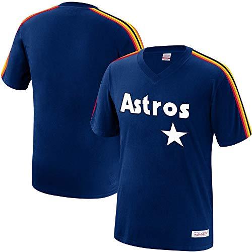 Mitchell & Ness Houston Astros MLB Men's Overtime Win Vintage V-Neck T-Shirt (X-Large)