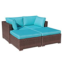 Garden and Outdoor OC Orange-Casual 4 Pieces Patio Furniture Sectional Set Outdoor All-Weather PE Rattan Wicker Lawn Conversation Sets… outdoor lounge furniture