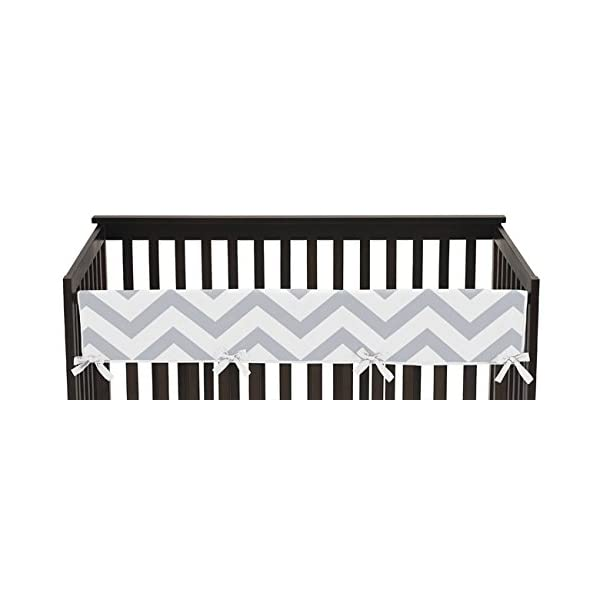 Sweet Jojo Designs Gray and White Chevron Zig Zag Long Front Rail Guard Baby Boy or Girl Teething Cover Protector Unisex Crib Wrap