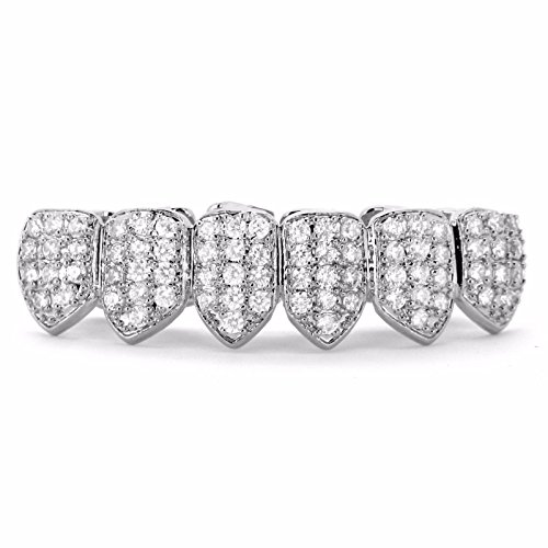 Iced Bling Hip Hop Grillz (18k Gold Plated Iced Out Rhinestone Micropave CZ Lower Bottom Grillz set with 2 EXTRA Molding Bars (Classic Silver))