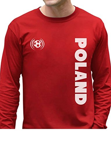 TeeStars - Poland National Football Team Soccer Fans Long Sleeve T-Shirt X-Large Red (Polish National Soccer Team compare prices)