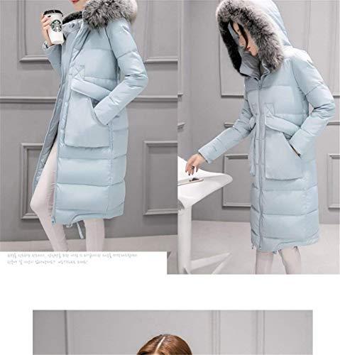 Colori Blau Con Cappuccio Di Cerniera Mantello Windbreaker Transizione Solidi Cappotto Invernali Grazioso Alta Lunga Qualità Manica Caldo Tasche Piumini Donna Anteriori HYzqxRPPw