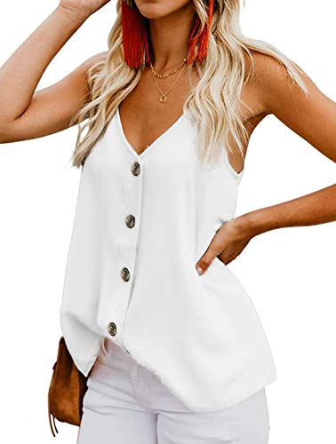 OYANUS Womens Tops V Neck Button Down Strappy Tank Tops Loose Casual Summer Sleeveless Shirts Blouses White S