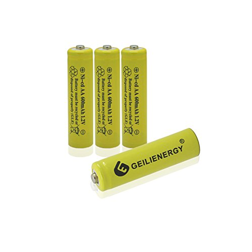 - GEILIENERGY AA Size NiCd AA 600mAh 1.2V Rechargeable Battery for Solar Lamp Solar Light(Pack of 4)