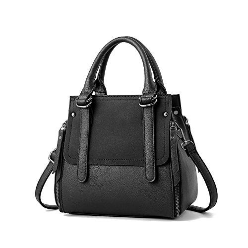Coolives Zipper Long Shoulder Strap Top Handle Bag Brown Black