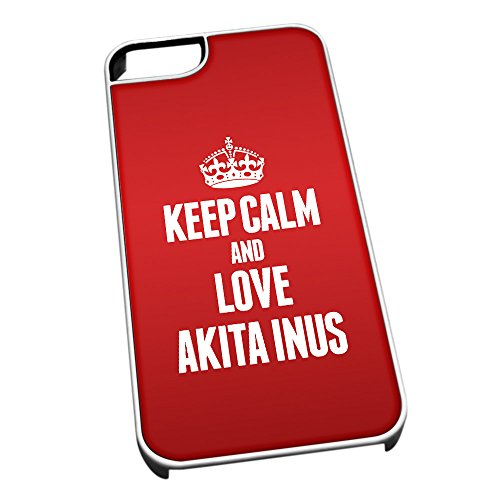 Bianco cover per iPhone 5/5S 1969 Red Keep Calm and Love Akita Inus