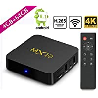 SCSETC Newest Android TV Box DDR4 4G+64GB,4K Android 8.1 H.265 64bit Media Streaming Player Smart Box with Wireless, Support Media,music,photo..(Black)