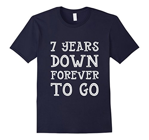 Mens 7th Wedding Anniversary Gift 7 Years Down Forever To Go 2XL Navy