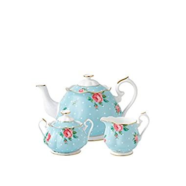 Royal Albert New Country Roses Polka Blue Teaset, 3-Piece