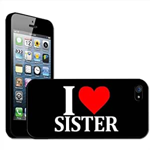 "Fancy A Snuggle - Carcasa rígida para iPhone 5, diseño con texto ""I Love Sister"""