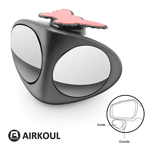Airkoul Blind Spot Mirrors, Car HD Glasses Frame Convex Lens, Front And Rear Wheel Without Dead Angle Double Mirror, Fit For All Cars, Suv And Trucks (Left, black)