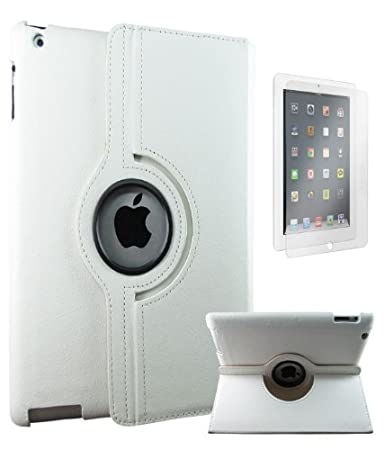 DMG 360 Degree Rotating Smart Case for Apple iPad 2/3/4  White  + Matte Anti Glare Screen Protector Tablet Accessories