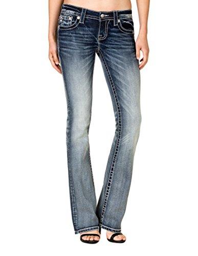 Miss Me Women's Floral Fleur-De-Lis Pocket Bootcut Jeans Extended Sizes Blue 31