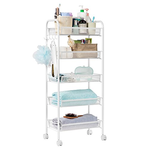 LANGRIA 5-Tier Kitchen Rolling Serving Cart Wire Mesh for Utility Trolley Organization Cart with Portable Metal Handle Easy Moving Flexible Wheels, White