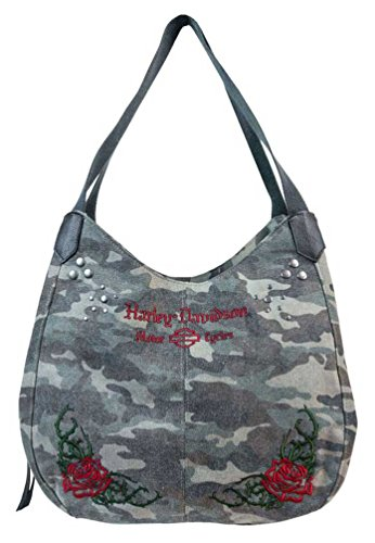 Harley-Davidson Women's Rose Embroidery Camo Print Bucket Bag WC6135S-CAMO (Harley Davidson Camo)
