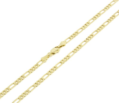 Mens 14k Gold Plated 3mm Italian Figaro Link Chain Necklace 24 Inches (Mens Italian Chain Necklace compare prices)