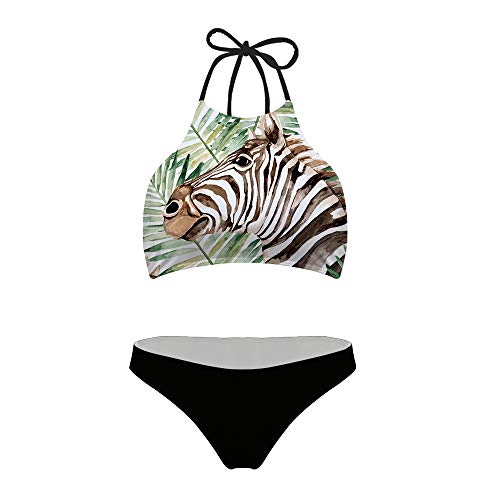 Mumeson Women Juniors Animal Zebra with Palm Leaf Print High Neck Halter Bikini Set Two Piece Swimsuit Black Bottom Bathing Suit XXL