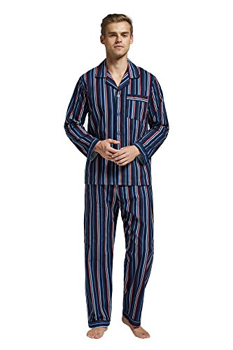 Flannel Striped Pants Pajama (Men's Flannel Pajama Set, 100% Cotton Long Sleeve Sleepwear (XX-Large, Multicolor Striped))