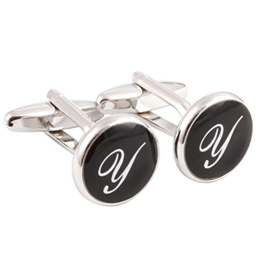(HJ Men's 2PCS Rhodium Plated Cufflinks Silver Initial Letter Shirt Wedding Business 1 Pair Set Black Y)