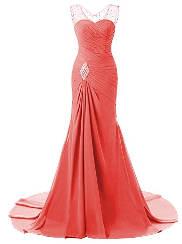 Lily Wedding Womens Mermaid Prom Bridesmaid Dresses 2018 Long Evening Formal Party Ball Gowns FED003 Coral Size10