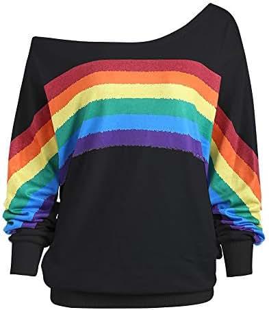 Women Casual Loose Long Sleeve Rainbow Print Pullover Blouse Shirts Sweatshirt Slash Neck Fashion Coat Tops
