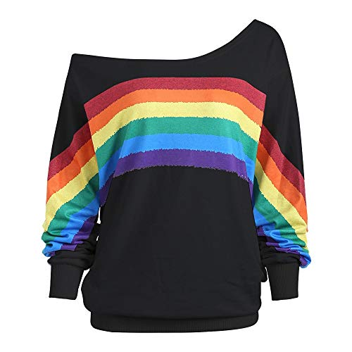 (PERFURM Womens Casual Rainbow Print Off Shoulder Blouse Plus Size Baggy Pullover Tops Shirt Fashion Cute Tank Sweatshirt)