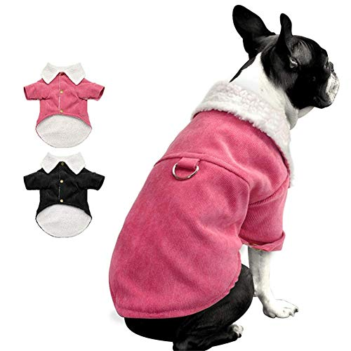 RSHSJCZZY Pet Winter Padded Coat Windproof Warm Fleece Corduroy Jacket Small Medium Dogs Costume -