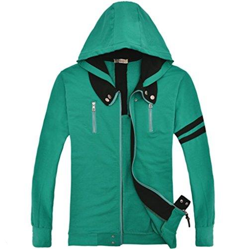Cos-me Tokyo Ghoul Kanagi Cosplay Ken Kamen Green Hoodies Jacket Coat Costumes L