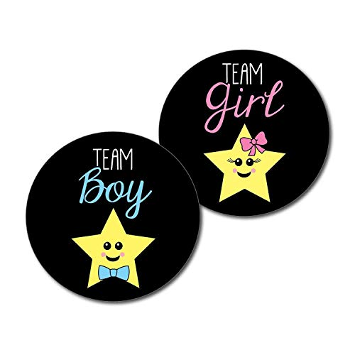 36 2.5 inch Stars Team Boy and Girl Gender Reveal Party Stickers Twinkle Little Star ()