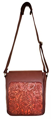 Gift Floral Women Messenger Handbag for Vintage Adjustable Cocobolo Handmade Crossbody Leather Juno Artisan H5zqPwTxn