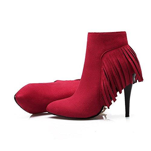 AgooLar Damen Mattglasbirne Knöchel Hohe Rein Reißverschluss Hoher Absatz Stiefel, Rot, 37