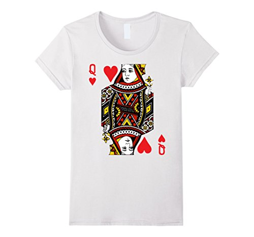 A Deck Of Cards Costume - Womens Deck Of Cards Halloween Costume TShirt Heart Queen Card Medium White