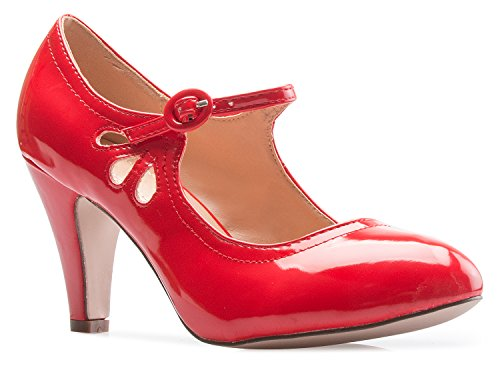 OLIVIA K Women's Kitten Heels Mary Jane Pumps - Adorable Vintage Shoes- Unique Round Toe Design With An Adjustable Strap,Red Patent,7.5 B(M) US
