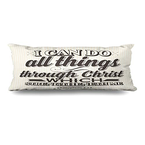 (Ahawoso Body Pillows Cover 20x54 Inches Worship Quote Bible Lettering Christian Can Do Love Scripture Prayer Jesus Gospel Christ Decorative Cushion Case Home Decor Pillowcase)