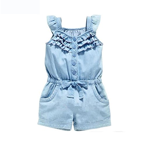 Baby Girl Summer Jeans Rompers, Cotton Denim Blue Washed Fly Sleeve Bow Jumpsuit 1-5T (Denim Blue, US Size:4T) by Aritone - Baby Romper