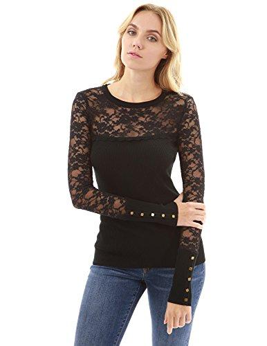 PattyBoutik Women Lace Inset Crewneck Ribbed Sweater (Black ()