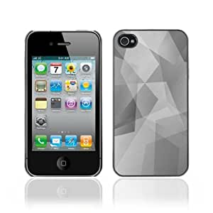 Designer Depo Hard Protection Case for Apple iPhone 4 4S / Cool Polygon B&W Pattern