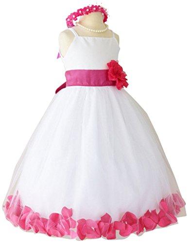 Flower Girl Dress Rose Petal Paperio Easter Wedding Girl White (Baby - 14)