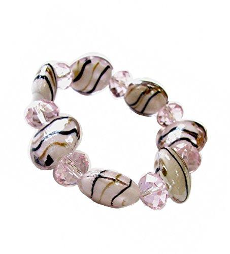 Linpeng Pink Swirl Lampwork Glass Flat Round Beads & Pink Crystal Beads Stretch Bracelet_BR-1302 ()